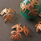 Flower Bead Caps 12mm-15mm Antique Copper
