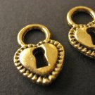 Heart Charms 12x17mm Antiqued Gold Jewelry Findings