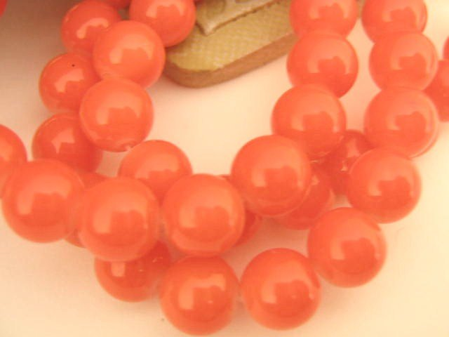 Salmon Opaque Glass Beads 6mm Round