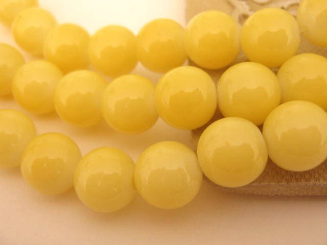 Yellow Opaque Glass Beads 8mm Round