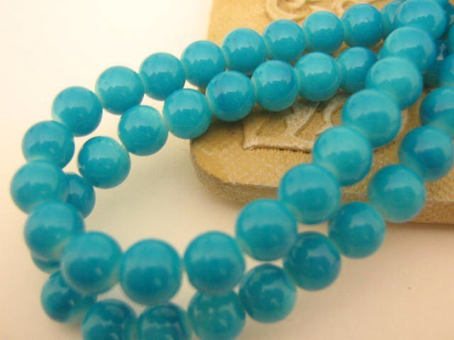 Dark Aqua Blue Opaque Glass Beads 6mm Round