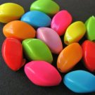 Assorted Opaque 9x13mm Oval Twist Acrylic Plastic Beads