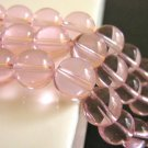Transparent Pink 10mm Round Glass Beads
