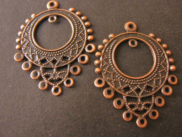Chandelier Findings 25x32mm Antique Copper Pendants qty 10