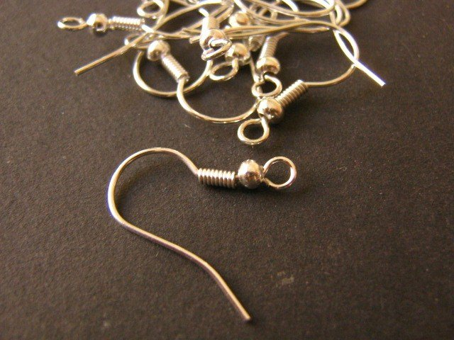 Ear Wire French Hook 19x20mm Silver Plated