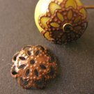 Filigree Flower Bead Caps 5x11mm Antique Copper