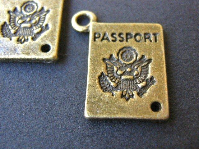 Passport Charms 16x12mm Antique Bronze Finish