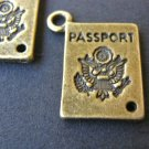 Passport Charms 16x12mm Antique Bronze Finish