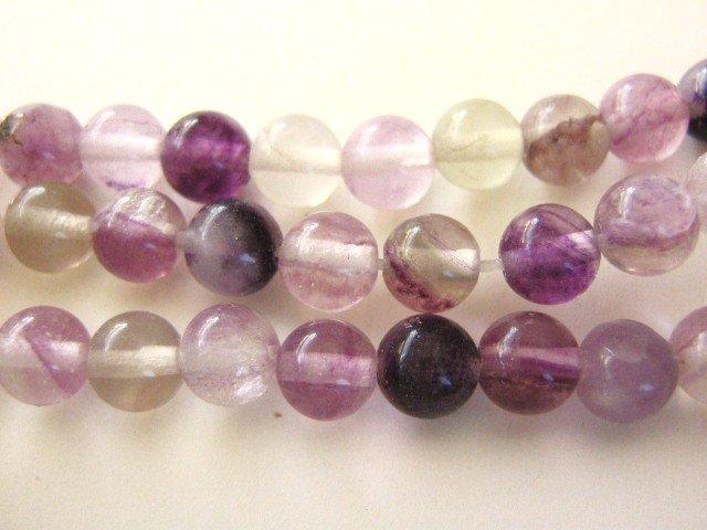 Fluorite 4mm Round Gemstone Beads Purple