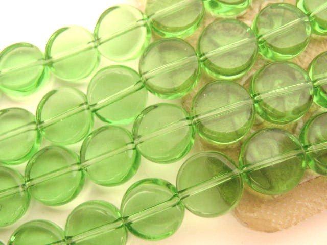 Glass Beads Green 10mm Coin Transparent