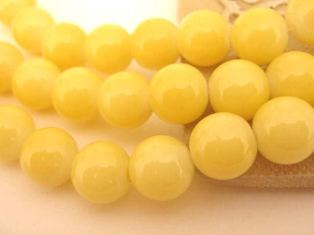 Yellow Opaque 10mm Round Glass Beads