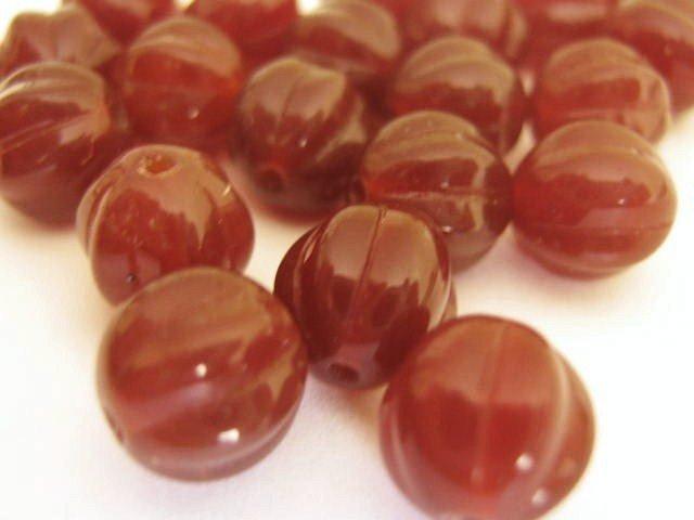 8mm Round Fluted Melon Dark Carmel Brown Czech Glass Beads