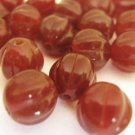 8mm Round Fluted Melon Dark Carmel Brown Czech Glass Beads