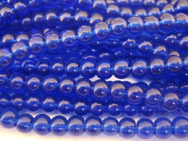 4mm Round Cobalt Blue Glass Beads