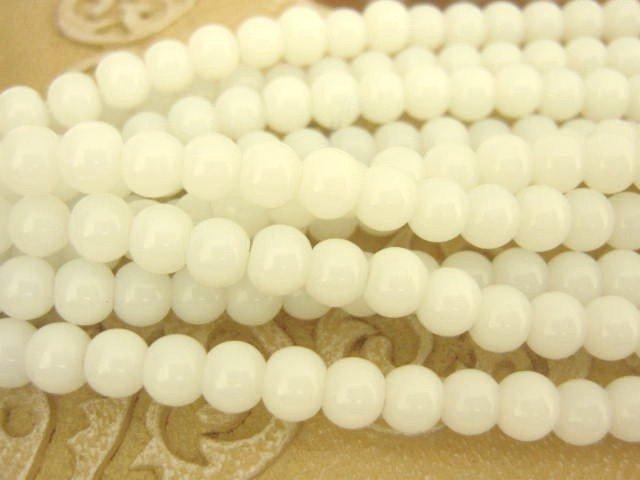 Milk White 4mm Round Glass Beads