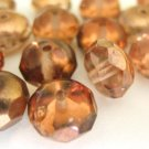 Pink Rose Capre Czech Glass Beads 9 x 6mm Faceted Rondel