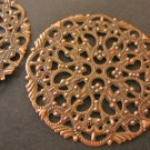 Antique Copper 44mm Round Filigree Stamping Pendant