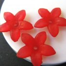 Acrylic Red 17mm Flower Spike Plastic Beads