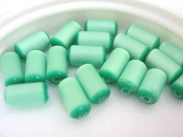 Green Moonglow 5x8mm Tube Vintage Lucite Beads