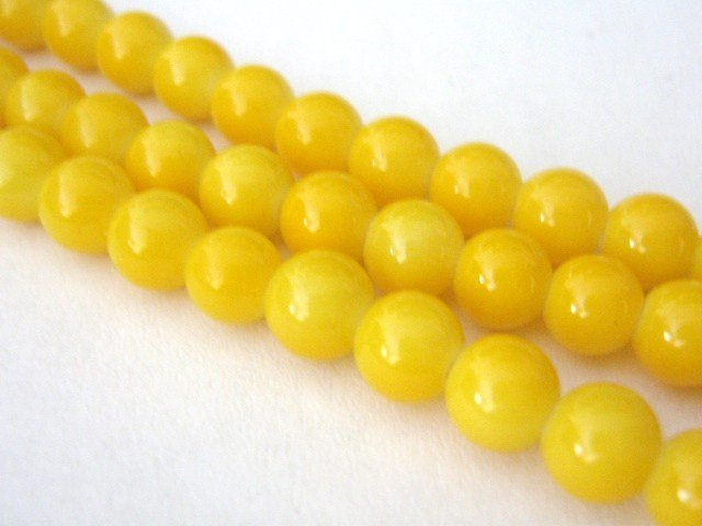 Canary Yellow Opaque Glass Beads 8mm Round