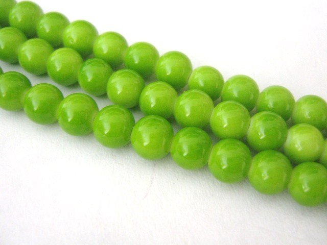 Yellow Green Opaque Glass Beads 4mm Round