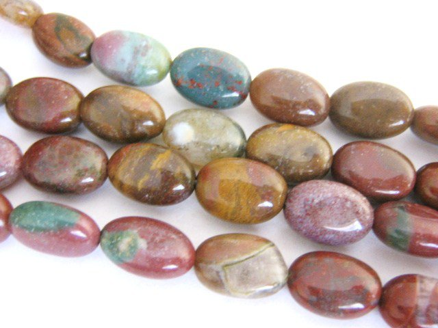 Indian Agate Gemstone Beads 12x9mm Flat Oval