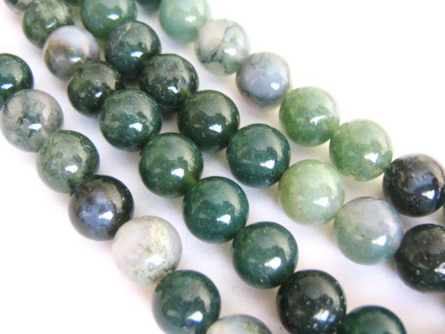 Moss Agate Beads 6mm Round Green Gemstone