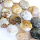 Bamboo Leaf Agate 8x10mm Flat Oval Brown White Gemstone