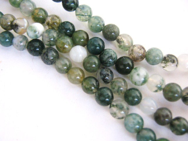 Moss Agate 4mm Round Green Gemstone Beads