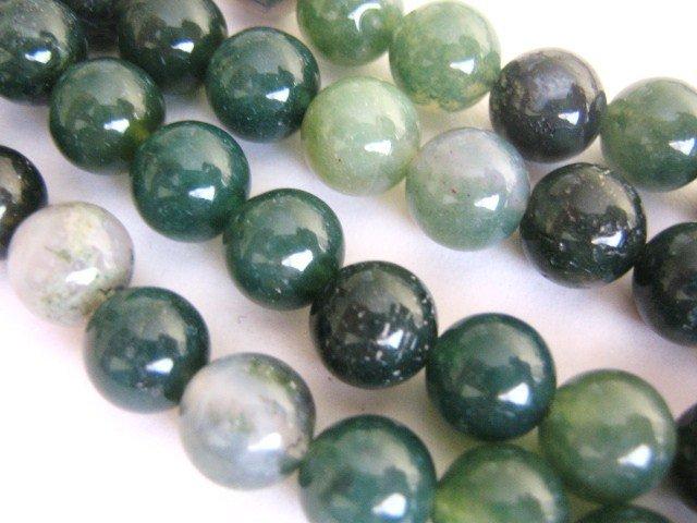 Moss Agate Beads 8mm Round Gemstone