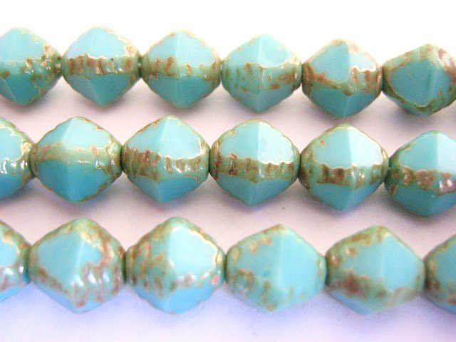 Turquoise Picasso Blue Czech Glass Beads 8x9mm Bicone