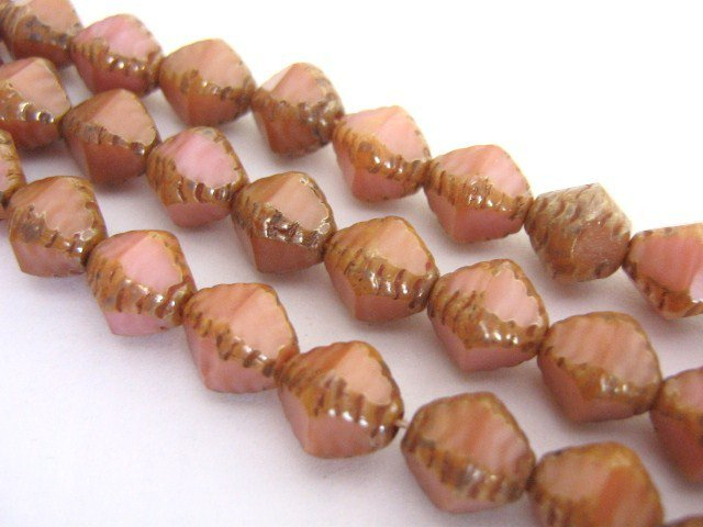 Czech Rose Picasso Pink Glass Beads 8x9mm Bicone