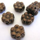 Copper Czech Glass Beads 8mm Daisy Flower