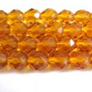 Topaz 8mm Faceted Round Brown Czech Glass Beads