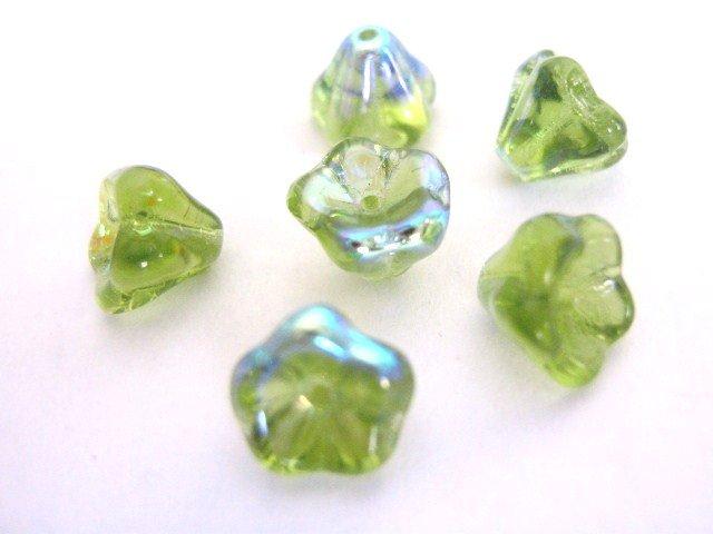 Olivine AB Green Czech Glass Beads Flower 8x6mm Tulip