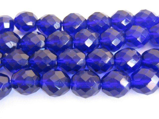Blue Cobalt Czech Glass Beads 8mm Faceted Round