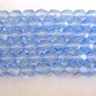 Sapphire 6mm Faceted Round Blue Czech Glass Beads Fire Polished