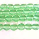 Green 8mm Round 3 Cut Triangle Czech Glass Beads Window Cut
