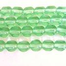 Green 8mm Round 3 Cut Triangle Czech Glass Beads Window Cut