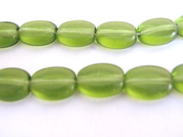 Olivine 6x8mm Flat Oval Green Czech Glass Bead