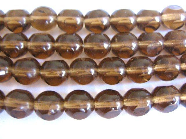 Brown 3 Cut Triangle 8mm Round Smoky Topaz Czech Glass Beads