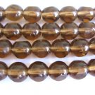 Brown 3 Cut Triangle 8mm Round Smoky Topaz Czech Glass Beads Window Cut