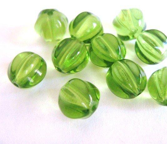 Olivine Green Czech Glass Beads 8mm Melon Round