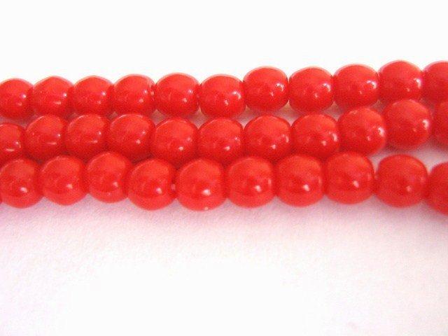 Opaque Red 4mm Round Czech Glass Beads
