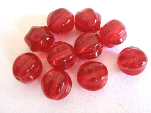 Ruby Red Czech Glass Bead 8mm Melon Round