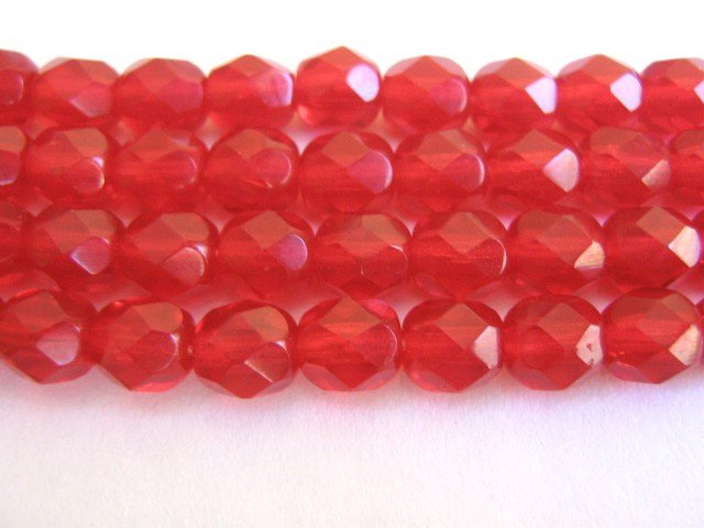 Ruby Red 10mm Faceted Round Czech Glass Beads