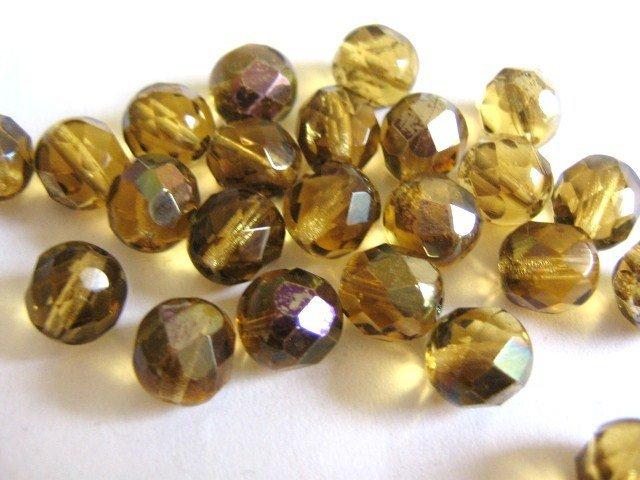 Amber Zarit 8mm Faceted Round Brown Czech Glass Beads