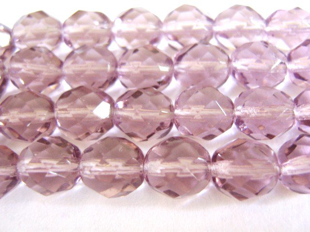 Purple 8mm Faceted Round Lavender Czech Glass Beads
