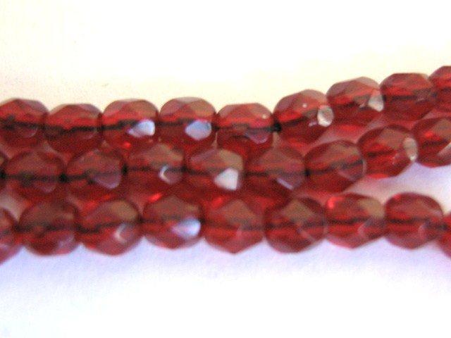 Red Garnet Czech Glass Beads 4mm Faceted Round
