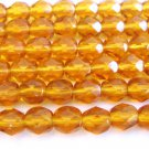Topaz 6mm Faceted Round Brown Czech Glass Beads